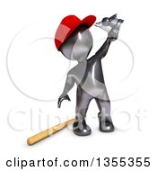 Poster, Art Print Of 3d Reflective Black Man Baseball Player Holding Up A Trophy On A White Background