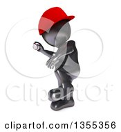 Poster, Art Print Of 3d Reflective Black Man Baseball Player Pitching On A White Background