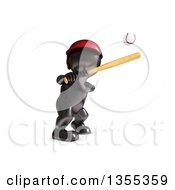 Poster, Art Print Of 3d Reflective Black Man Baseball Player Batting On A White Background