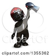 Clipart Of A 3d Reflective Black Man American Football Player Holding Up A Trophy On A White Background Royalty Free Illustration by KJ Pargeter