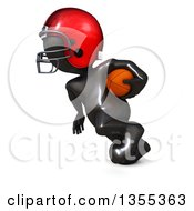 Clipart Of A 3d Reflective Black Man American Football Player Running On A White Background Royalty Free Illustration by KJ Pargeter