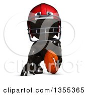 Clipart Of A 3d Reflective Black Man American Football Player On A White Background Royalty Free Illustration by KJ Pargeter