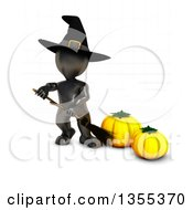 Clipart Of A 3d Reflective Black Witch Holding A Broom By Pumpkins On A White Background With Faint Grid Lines Royalty Free Illustration by KJ Pargeter