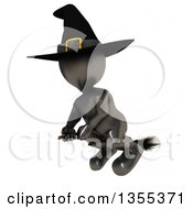 Clipart Of A 3d Reflective Black Witch Flying On A Broomstick On A White Background With Faint Lines Royalty Free Illustration by KJ Pargeter