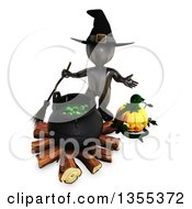 Clipart Of A 3d Reflective Black Witch Holding A Broom By Pumpkins And A Cauldron Full Of Eyeballs On A White Background Royalty Free Illustration by KJ Pargeter