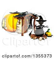 Clipart Of A 3d Reflective Black Witch Over A Cauldron Outside A Pumpkin House On A White Background Royalty Free Illustration by KJ Pargeter