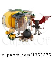 Clipart Of A 3d Reflective Black Demon Holding A Pitchfork Over A Cauldron At A Pumpkin House On A White Background Royalty Free Illustration by KJ Pargeter