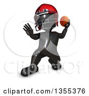 Clipart Of A 3d Reflective Black Man American Football Player Throwing On A White Background Royalty Free Illustration by KJ Pargeter