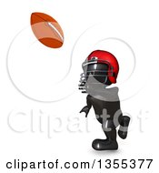 Clipart Of A 3d Reflective Black Man American Football Player Catching On A White Background Royalty Free Illustration by KJ Pargeter