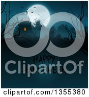 Silhouetted Spooky Haunted Halloween Castle On A Hill Against A Full Moon With Vampire Bats Bare Branches And Text