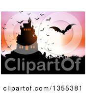 Clipart Of A Silhouetted Spooky Haunted Halloween Castle On A Hill Against A Full Moon With Vampire Bats A Cemetery And Colorful Sky Royalty Free Vector Illustration by KJ Pargeter