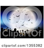 Clipart Of A Full Moon With Vampire Bats Over A Silhouetted Cemetery With Lit Jackolantern Pumpkins Against A Blue Sky Royalty Free Vector Illustration by KJ Pargeter