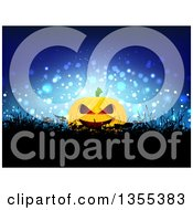 Clipart Of A Halloween Jackolantern Pumkin In Silhouetted Weeds Over A Blue Burst Royalty Free Vector Illustration
