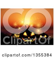 Clipart Of Halloween Jackolantern Pumkins In Silhouetted Grass Over A Sunset Ocean With Magic Lights Royalty Free Vector Illustration