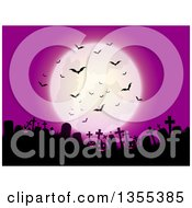 Clipart Of A Full Moon With Vampire Bats Over A Silhouetted Cemetery With Lit Jackolantern Pumpkins Against A Pink Sky Royalty Free Vector Illustration by KJ Pargeter