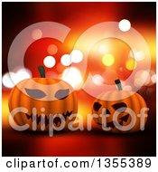 Clipart Of Two 3d Halloween Jackolantern Pumpkins Over Orange Sparkles Royalty Free Illustration