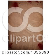 Clipart Of A Crinkled Vintage Paper Background With Blood Splatters Royalty Free Illustration by KJ Pargeter