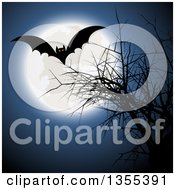 Clipart Of A Flying Halloween Vampire Bat Over A Bare Tree And A Full Moon Royalty Free Vector Illustration