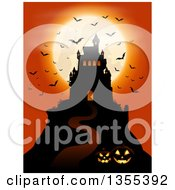 Clipart Of A Silhouetted Spooky Haunted Halloween Castle On A Hill Against A Full Moon With Vampire Bats Lit Jackolanterns And An Orange Sky Royalty Free Vector Illustration