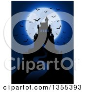 Silhouetted Spooky Haunted Halloween Castle On A Hill Against A Full Moon With Vampire Bats