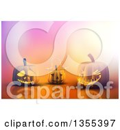 Clipart Of 3d Halloween Jackolantern Pumpkins With Gradient Lighting On A Reflective Surface Royalty Free Illustration