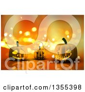 Clipart Of 3d Halloween Jackolantern Pumpkins Over Orange Sparkles Royalty Free Illustration