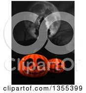 3d Halloween Jackolantern Pumpkins With A Blurred Silhouetted Haunted Castle Under A Full Moon