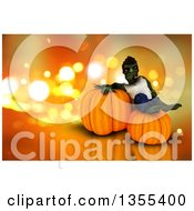 Clipart Of A 3d Zombie Resting On Halloween Jackolantern Pumpkins Over Orange Sparkles Royalty Free Illustration
