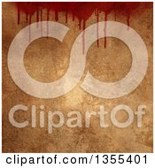 Clipart Of A Border Of Dripping Blood Over Grunge Royalty Free Illustration by KJ Pargeter
