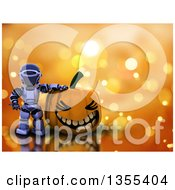 Clipart Of A 3d Silver Robot Presenting A Large Toothy Halloween Jackolantern Pumpkin Over Orange Bokeh Royalty Free Illustration