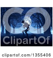 Clipart Of A 3d Demon In A Foggy Forest At Night Against A Full Moon Royalty Free Illustration