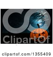 Clipart Of A 3d Halloween Jackolantern Pumpkin Over A Background Of Bare Trees And Skeletons Royalty Free Illustration by KJ Pargeter