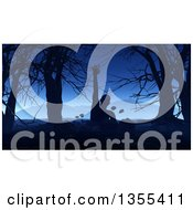 Clipart Of A 3d Zombie Rising Rising In A Dark Forest With Mountains In The Background Royalty Free Illustration