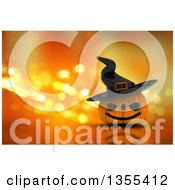 Clipart Of A 3d Halloween Jackolantern Pumpkin Wearing A Witch Hat Over Orange Sparkles Royalty Free Illustration