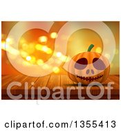 Clipart Of A 3d Halloween Jackolantern Pumpkin On A Wood Table Over Orange Sparkles Royalty Free Illustration by KJ Pargeter