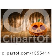 Clipart Of A 3d Halloween Jackolantern Pumpkin On A Wood Table Over A Foggy Forest Royalty Free Illustration