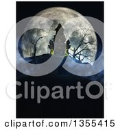 Clipart Of A 3d Haunted Halloween Castle On A Hill Against A Giant Full Moon With A Cemetery In The Foreground Royalty Free Illustration by KJ Pargeter