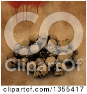 Clipart Of A Pile Of 3d Human Skulls Over A Bloody Grunge Background Royalty Free Illustration