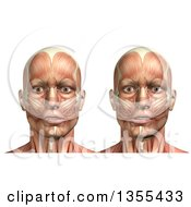 Clipart Of A 3d Anatomical Man With Visible Muscles Showing Mandible Lateral Deviation Left And Right On A White Background Royalty Free Illustration