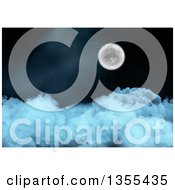 Clipart Of A 3d Full Moon Over Thick Clouds Royalty Free Illustration