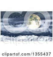 Clipart Of A 3d Full Moon Over A Blizzard Storm And Snowy Winter Landscape Royalty Free Illustration