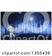 Clipart Of A 3d Halloween Mummy Walking Through A Foggy Forest At Night Royalty Free Illustration