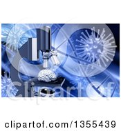 Clipart Of A 3d Human Brain On A Microscope Over Dna Strands And Viruses For Alzheimers Research Royalty Free Illustration