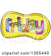 Clipart Of A Cartoon Stitched Friday Day Of The Week Over Yellow Polka Dots Royalty Free Vector Illustration