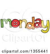 Clipart Of A Cartoon Stitched Monday Day Of The Week Royalty Free Vector Illustration