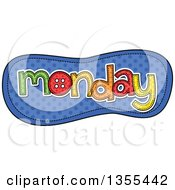 Clipart Of A Cartoon Stitched Monday Day Of The Week Over Blue Polka Dots Royalty Free Vector Illustration