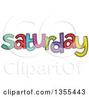 Clipart Of A Cartoon Stitched Saturday Day Of The Week Royalty Free Vector Illustration