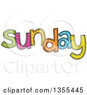 Clipart Of A Cartoon Stitched Sunday Day Of The Week Royalty Free Vector Illustration