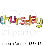 Clipart Of A Cartoon Stitched Thursday Day Of The Week Royalty Free Vector Illustration