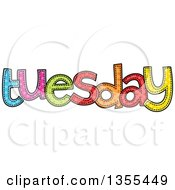 Clipart Of A Cartoon Stitched Tuesday Day Of The Week Royalty Free Vector Illustration